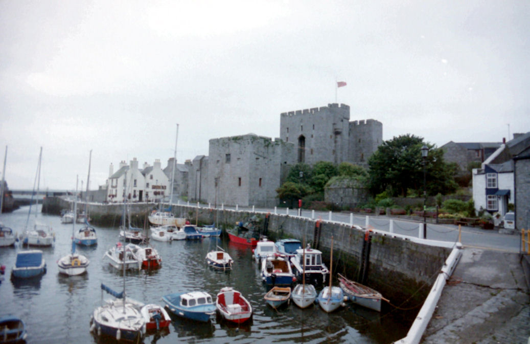 Classic view of Castletown and Castle Rushen, Isle of Man