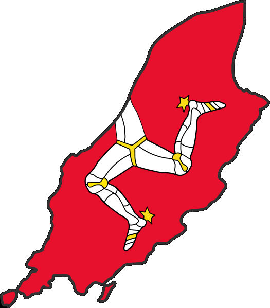 Map of the Isle of Man with flag