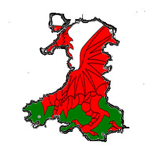 Map of Wales with flag